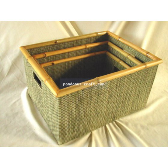 Mendong Basket with Bamboo Trim set of 3 handicraft