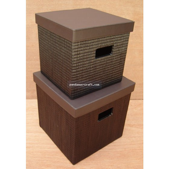 Mendong Square Box with Vinyl Lid set of 2 handicraft
