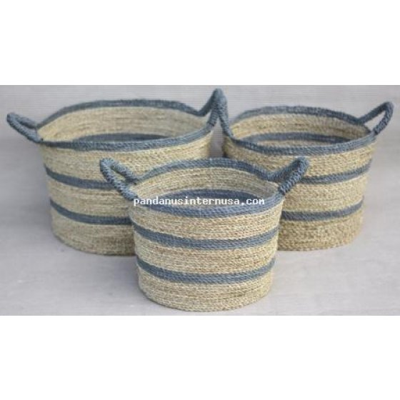 handicraft Sea grass grey striped basket set of 3