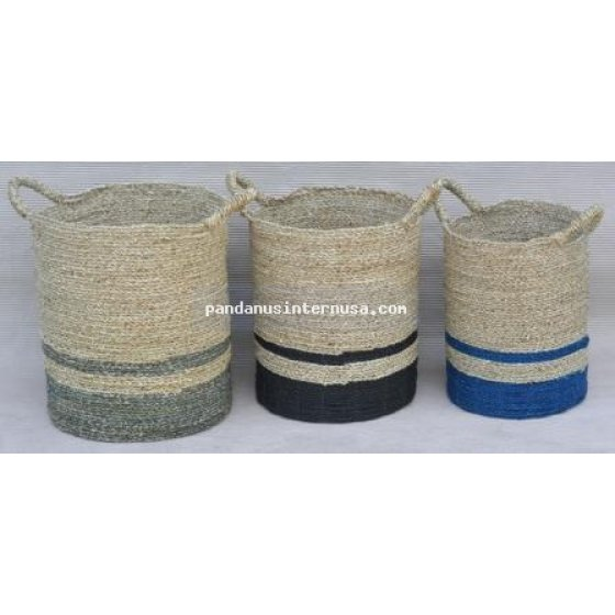 handicraft Sea grass striped basket set of 3