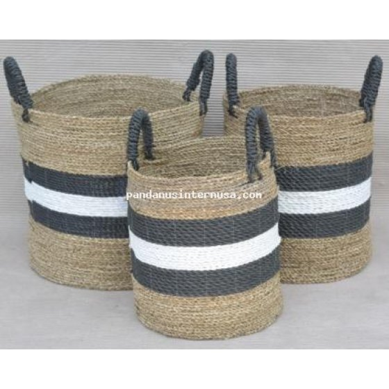 handicraft Sea grass striped basket set of 3 black white