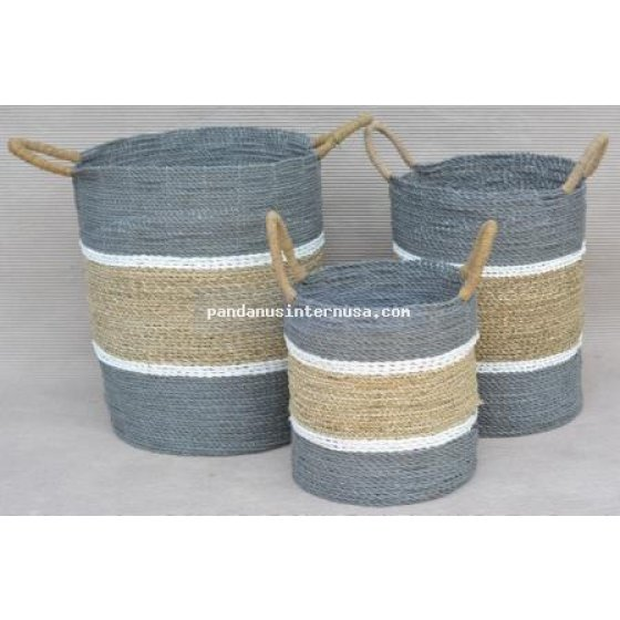 handicraft Sea grass striped basket set of 3 grey