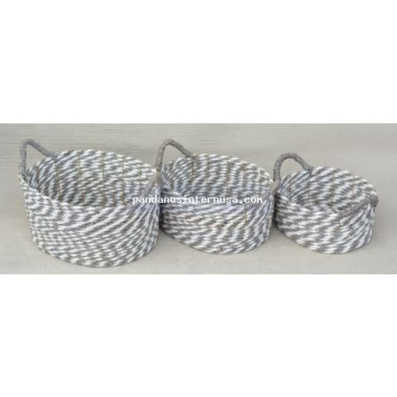 handicraft Seagrass grey white oval basket set of 3