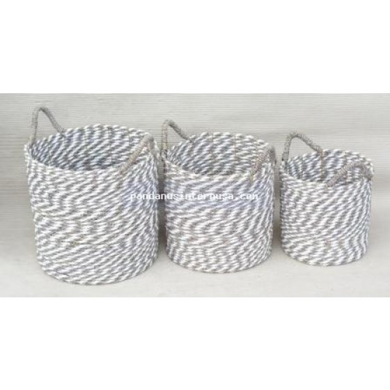 handicraft Seagrass grey white round basket set of 3