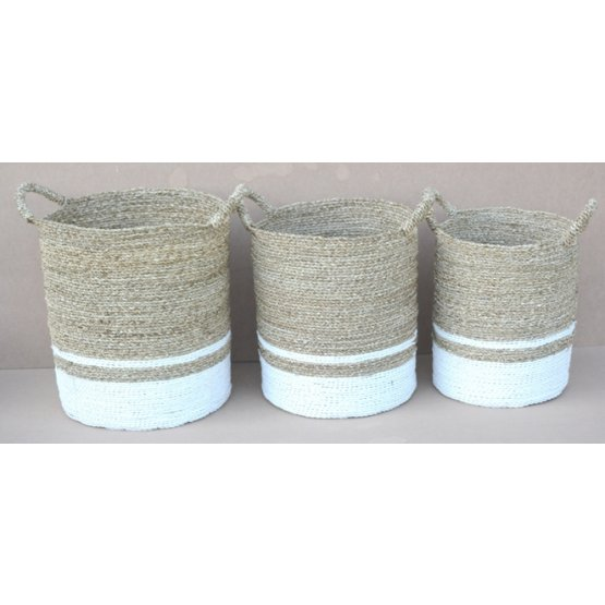 Seagrass round basket white stripe set of 3 handicraft