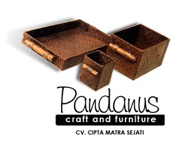handicraft - Pandanus square metallic box set of 3