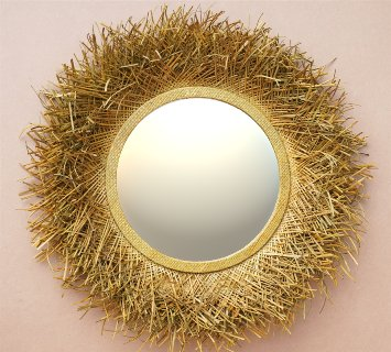 Pandanus Mirror D80 handicraft