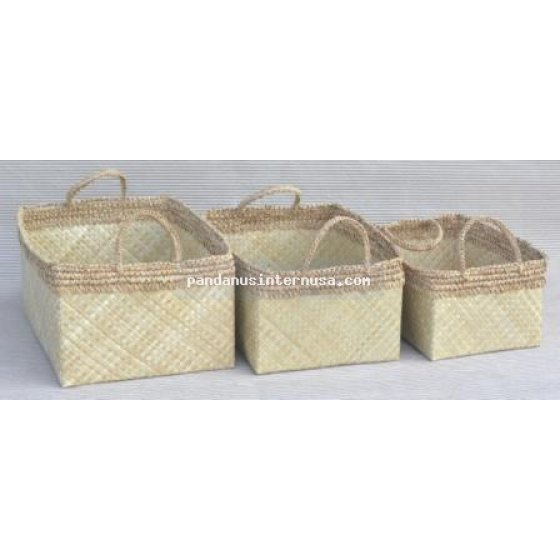 handicraft Pandanus rect basket with raffia trim set of 3