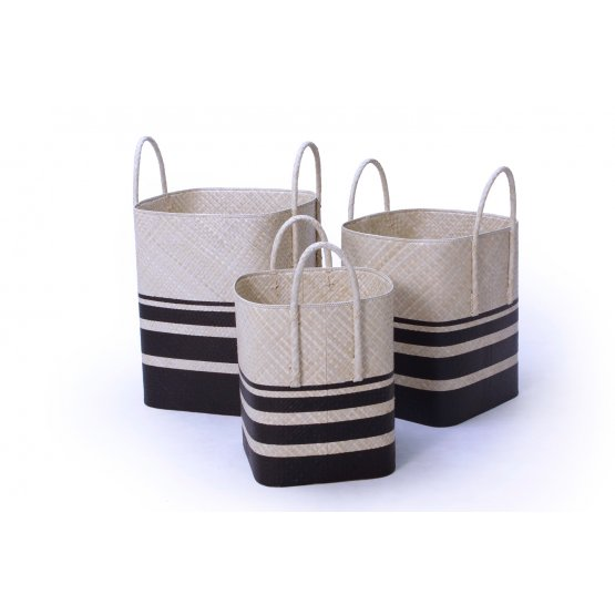 handicraft Pandanus square rounded basket with handle set of 3